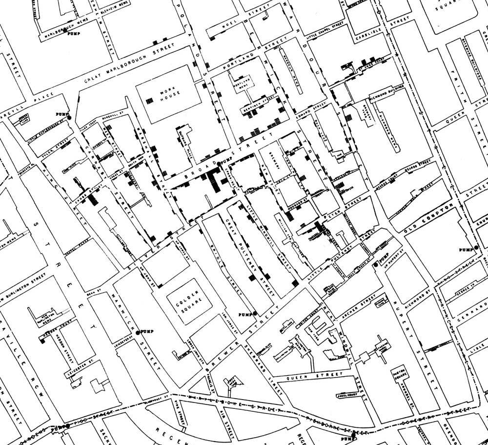 Légende : Épidémie de choléra de Broad Street (1854) par John Snow. Chaque rectangle noir représente un cas de choléra.  Source : Cheffins, C. F. (1854). Lith, Southampton Buildings, Londres (Angleterre). Dans J. Snow (1855). On the Mode of Communication of Cholera (2e éd.). Londres, R.-U. : John Churchill, New Burlington Street.