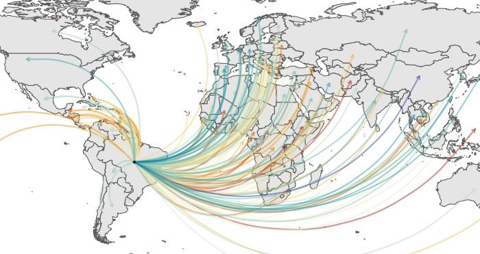 Carte mondiale des flux de pollinisation